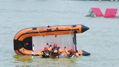 江门消防全程参与粤港澳大湾区洪涝灾害事故跨区域实战演练,上演精彩水上排险自救
