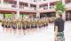 七年级新生进行国防教育汇操表演