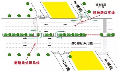 行人和司机请注意!蓬江区发展大道天长路路口以后要这样走!