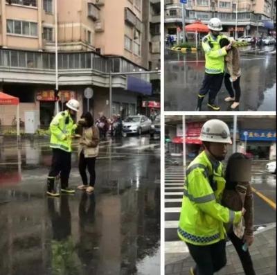 下雨天江门女子突然冲过来,抱着辅警胳膊痛哭!接下来一幕很暖心!